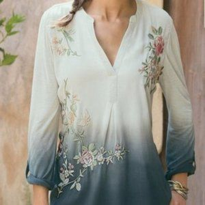 Soft Surroundings Embroidered Ombre Tunic XS